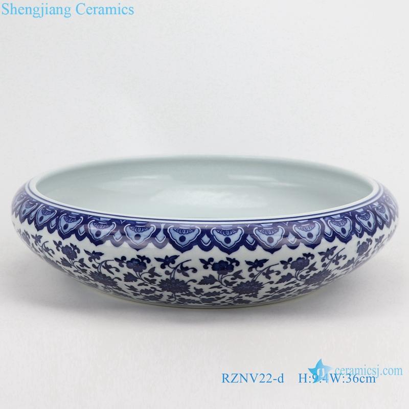 Blue and white writing brush washer water shallow large