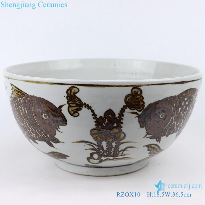 Chinese style fish algae grain ceramic bowl