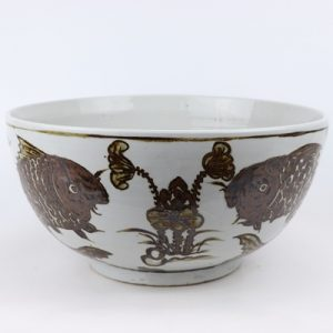 RZOX10 Chinese style jingdezhen antique do hand-painted 14 inch maroon fish algae grain ceramic bowl daily decoration