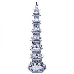 RZPI43-1017 Chinese style blue and white porcelain pagoda decoration living room dining room smooth and beautiful