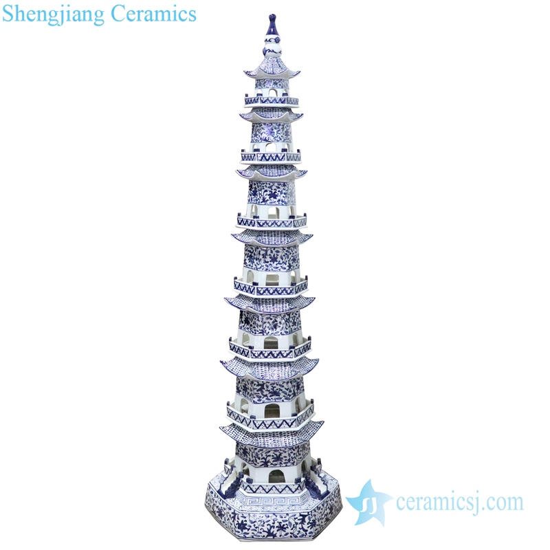 Chinese style blue and white porcelain pagoda front