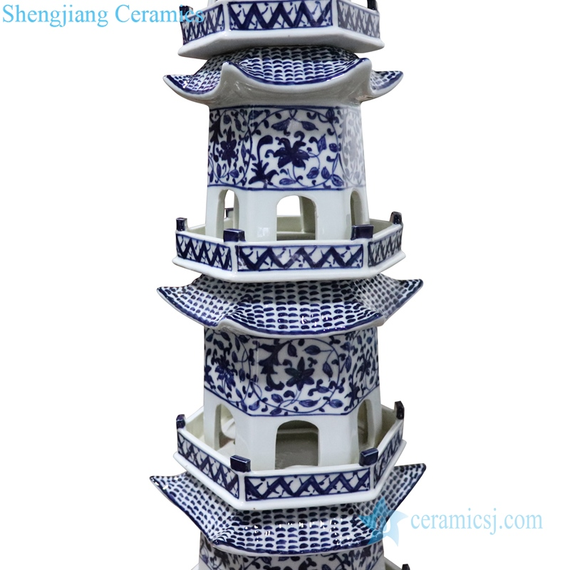blue and white porcelain pagoda smooth and beautiful detail