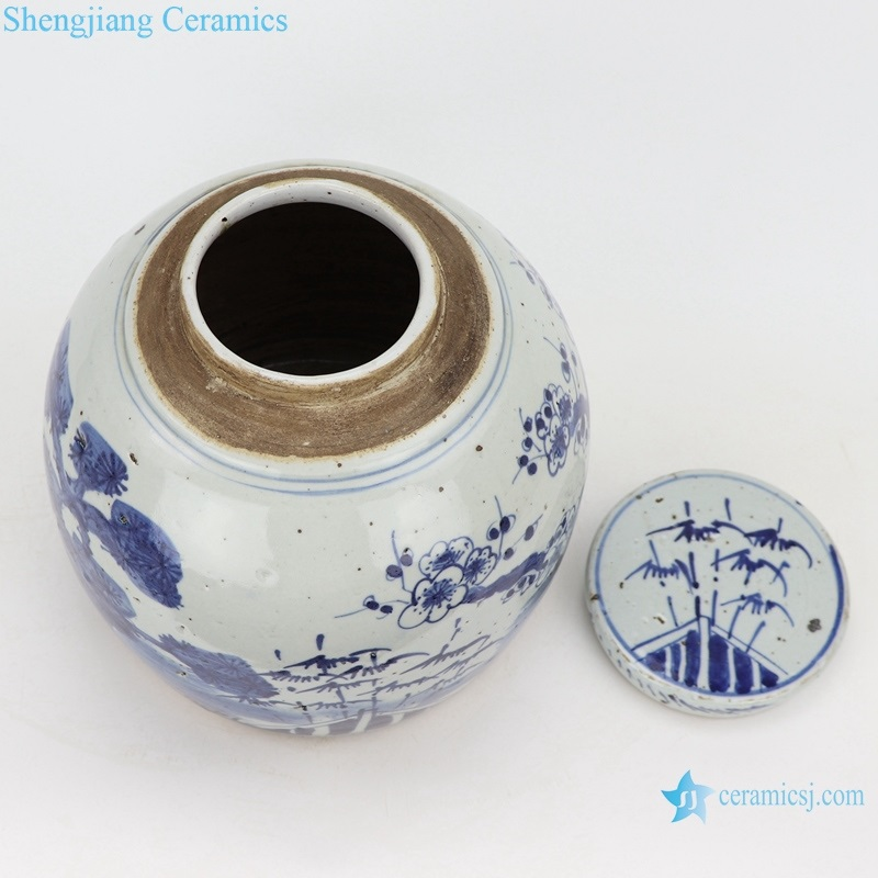 Storage of tea canisters traditional ceramic top view