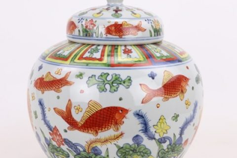 RZPY02 Chinese style archaize hand-painted blue and white multicolored fish algae pattern general tank storage tank decoration