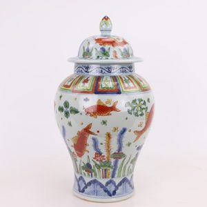 RZPY03 Archaize hand-painted blue and white multicoloured fish algal pattern general canister tea canister decoration jingdezhen Chinese ceramics