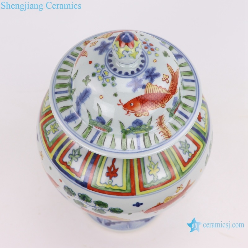 hand-painted blue and white multicoloured fish canister decoration