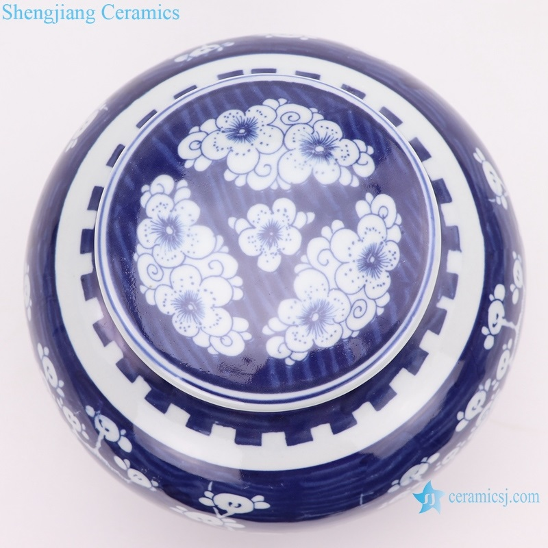 Beautiful jar blue and white porcelain top view