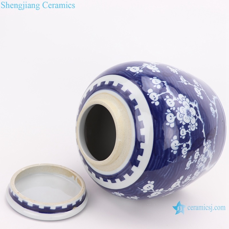 Chinese style blue and white ice plum with lid altar jar