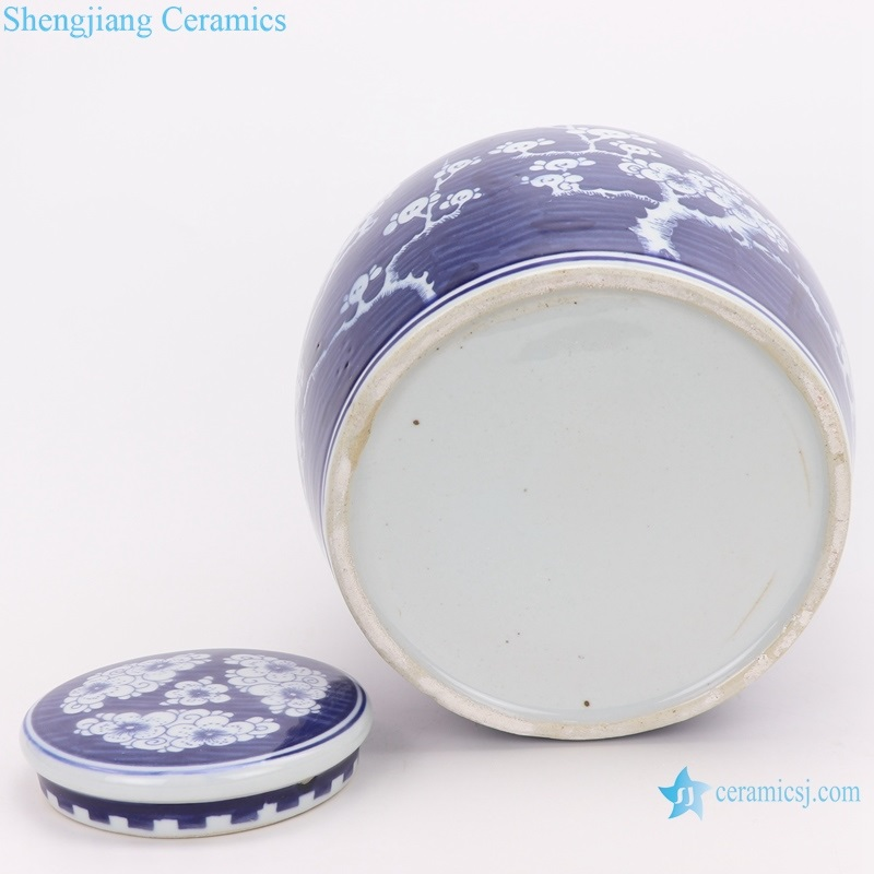 blue and white ice plum with lid altar jar