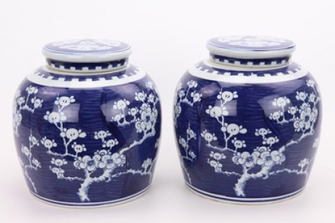 RZPi24-F Beautiful jar Chinese style jingdezhen porcelain decoration appreciate blue and white porcelain blue and white ice plum with lid altar jar