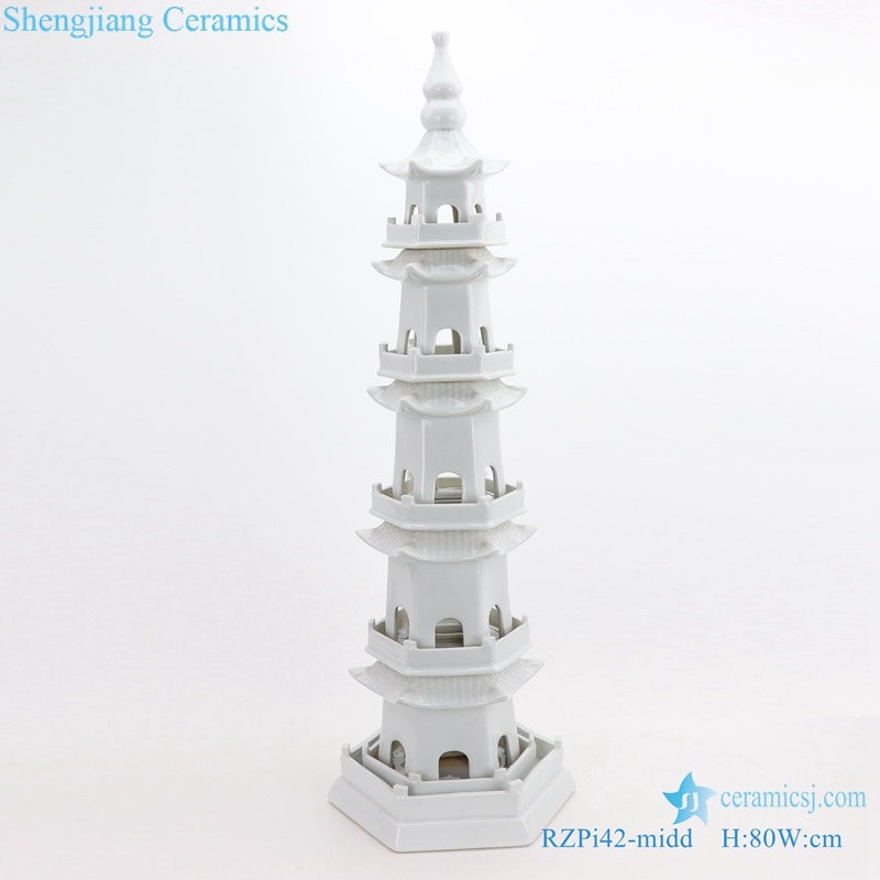 Daily decoration household white five-story pagoda in size