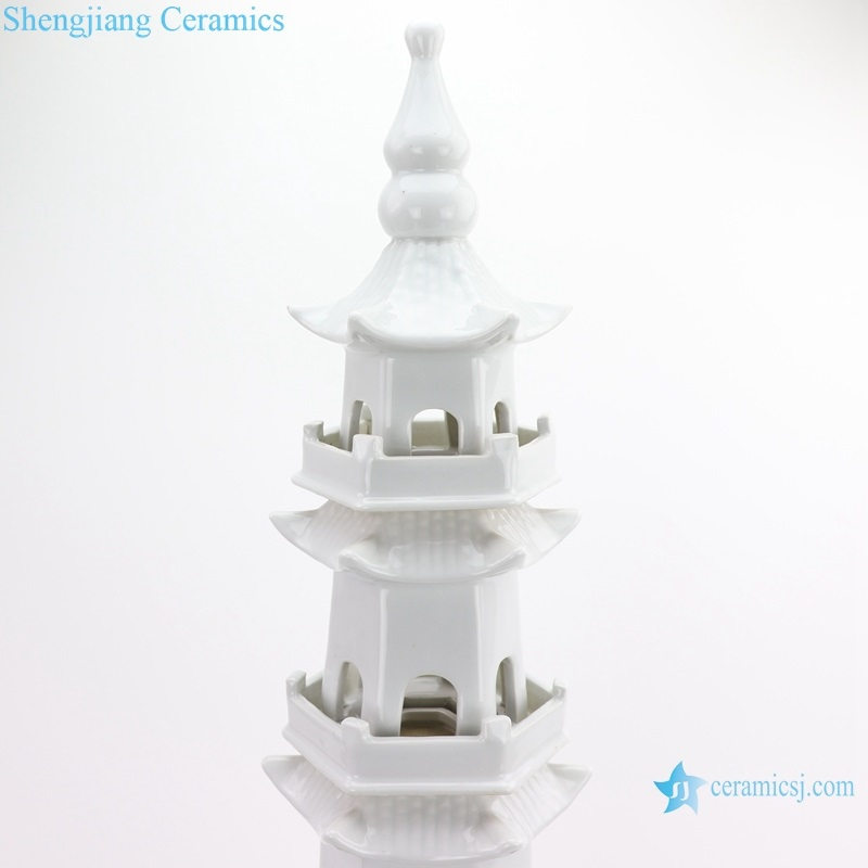 Chinese ceramics art white five-story pagoda in size