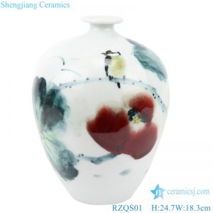 DS-RZQS Chinese style hand - painted ceramic desk lamp with lotus flowers and birds under glaze lampshade
