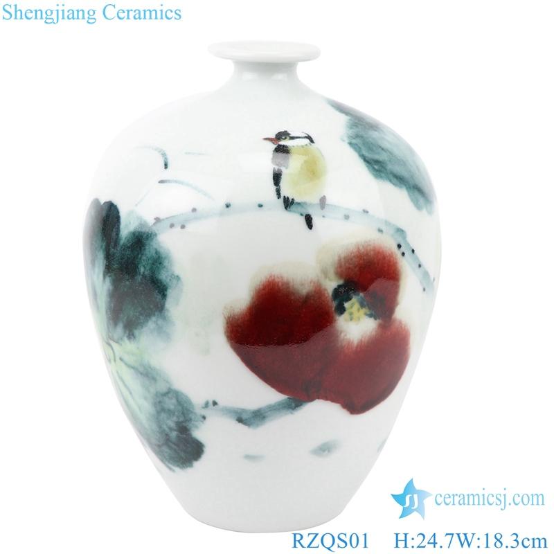 Flower and bird ceramic lamp shade