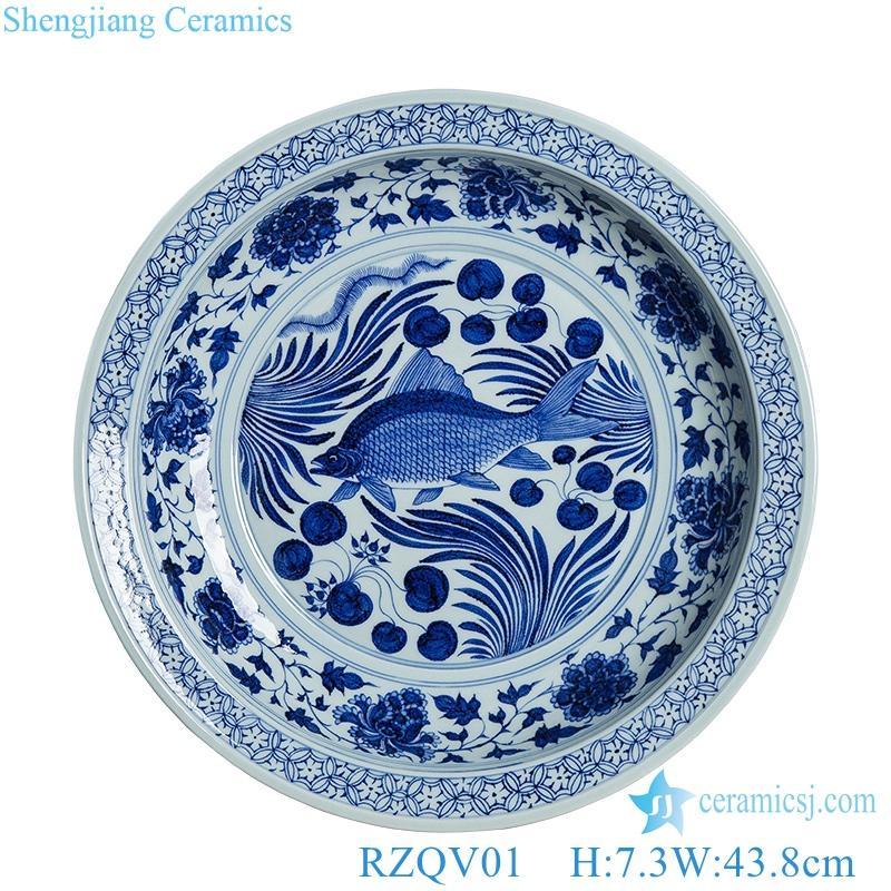 beautiful fish Shaped Pigments Ceramics front view