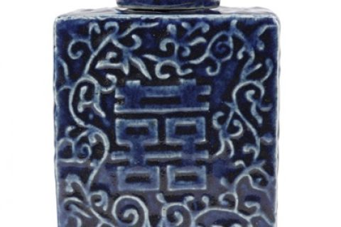 RZQW03 Traditional blue-deep blue pottery and porcelain carvings square lid tea canister Chinese style ceramic art pieces