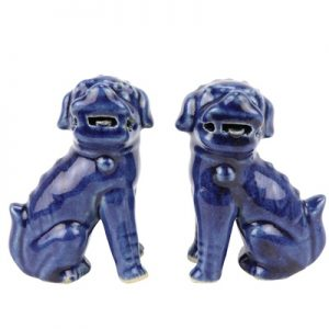 RZQW04 Chinese traditional style jingdezhen ceramic offering blue deep blue poodle sitting sculpture porcelain lion