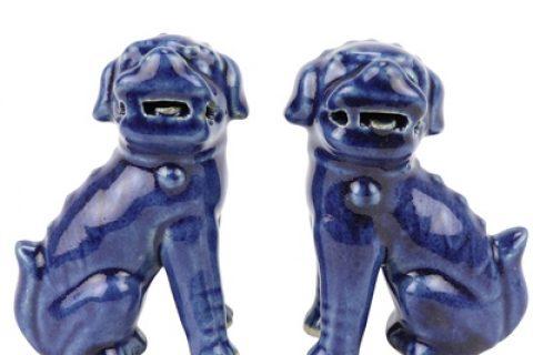 RZQW04 Chinese traditional style jingdezhen ceramic offering blue deep blue poodle sitting sculpture porcelain lion