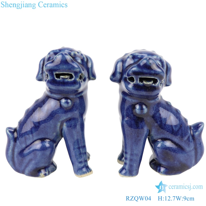 Chinese traditional style poodle sitting sculpture porcelain lion