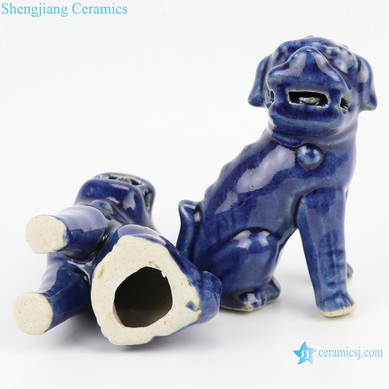 offering blue deep blue poodle sitting sculpture porcelain lion