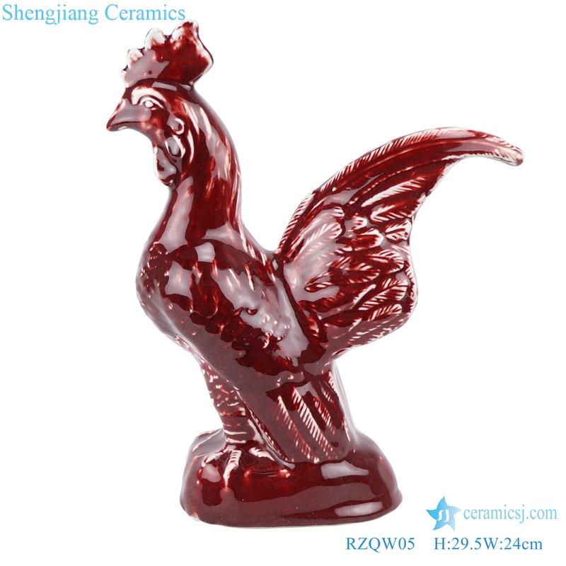 lang red glaze jun porcelain sculpture red rooster The lion