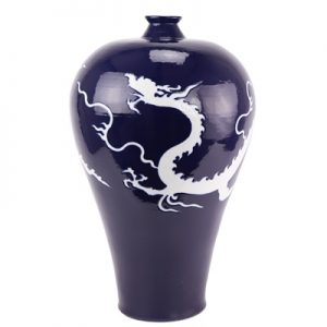 RZQX01 Chinese new Chinese ceramic decoration offering blue deep blue color glaze white dragon plum vase blue