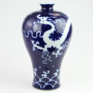 RZQY01-small Jingdezhen porcelain vase color glaze white dragon sea water plum vase blue small size