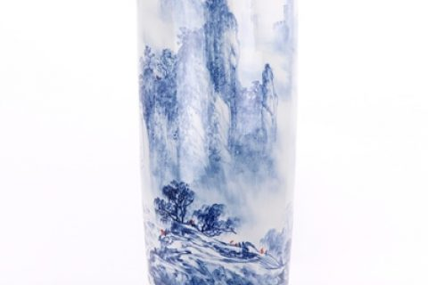 RZQZ01-A Traditional freehand blue and white hand-painted landscape quiver umbrella barrel jingdezhen ceramics