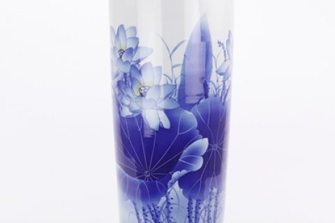 RZQZ01-B Blue and white hand-painted lotus quiver and umbrella barrel Chinese ceramic decoration