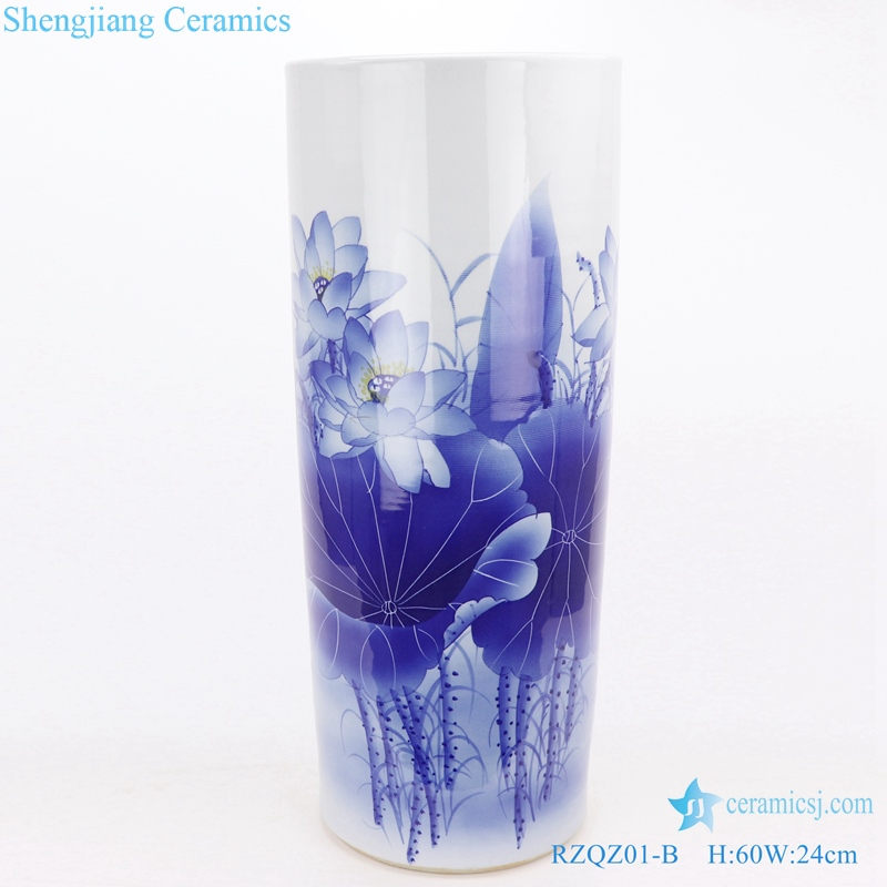 lotus quiver and umbrella barrel Chinese ceramic front