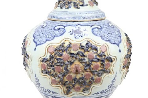 RZQo13 Yuan blue glaze red open carved engraving with cover dog head pot stack flower large pot storage tank decoration
