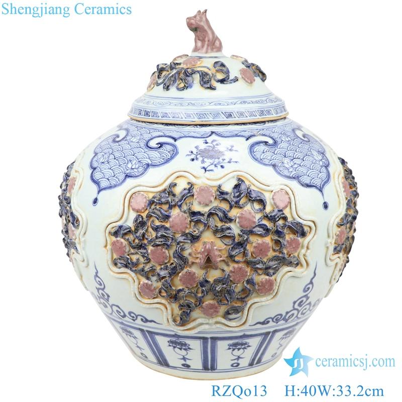 Yuan blue glaze red open carved storage tank decoration