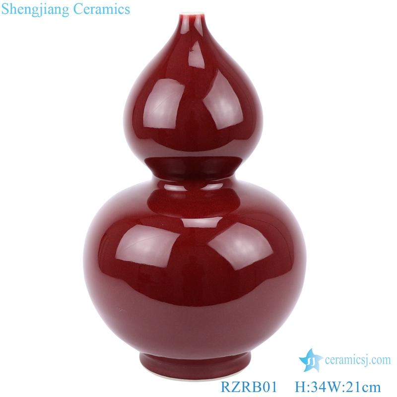 red glaze gourd bottle red vase decoration front