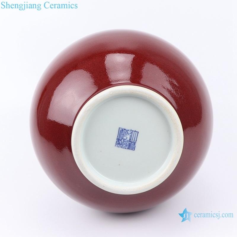 red glaze gourd bottle red vase decoration bottom