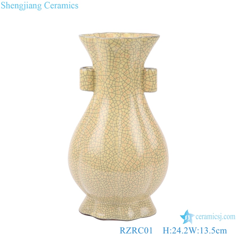 double ears flower mouth melon ribbed flower vase
