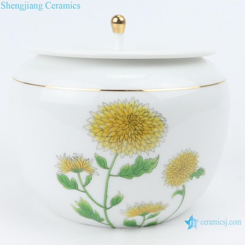 Chinese white porcelain chrysanthemum tea pot with cover