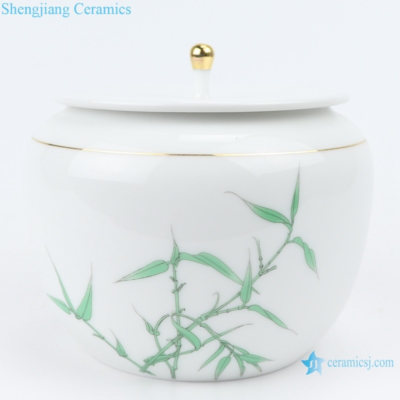White porcelain bamboo pattern with lid tea pot