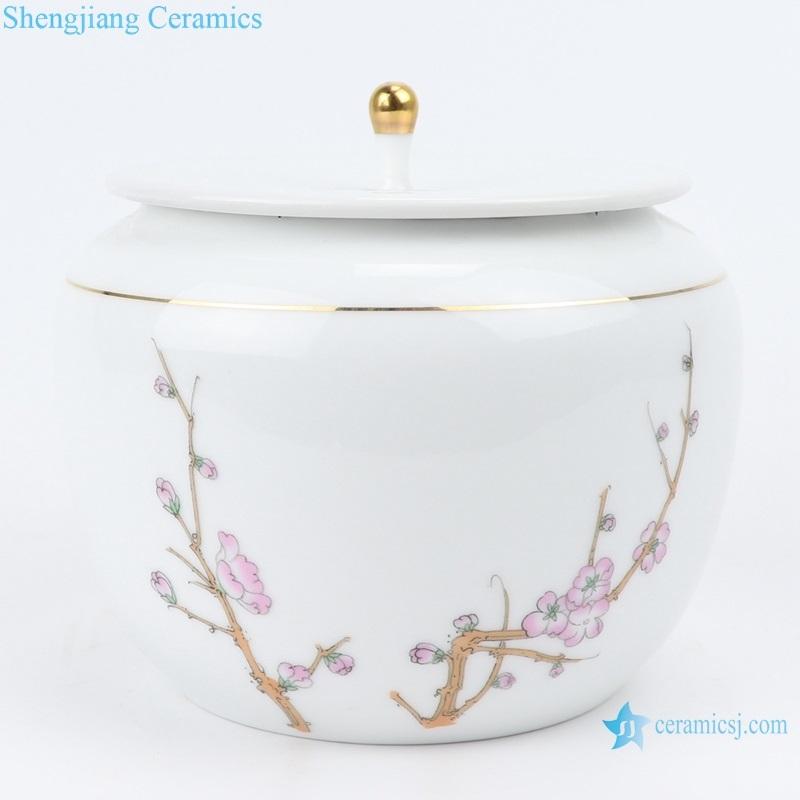 White porcelain pu 'er tea pot plum