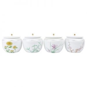 RZRE01 Chinese porcelain white porcelain pu 'er tea pot ceramic half jin meilan bamboo chrysanthemum tea pot with lid set of four