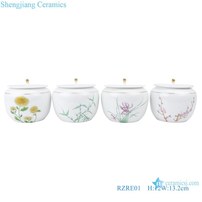 shengjiang ceramic tea pot with lid set of four