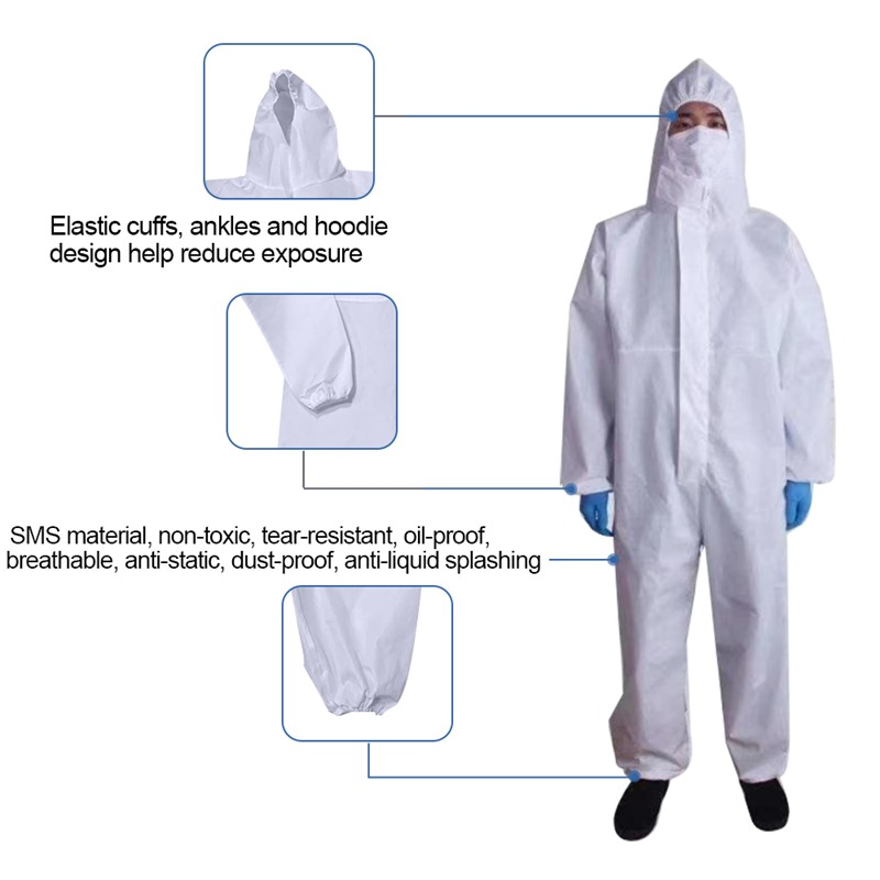 White Coverall Hazmat Suit Protection Protective Disposable Clothing