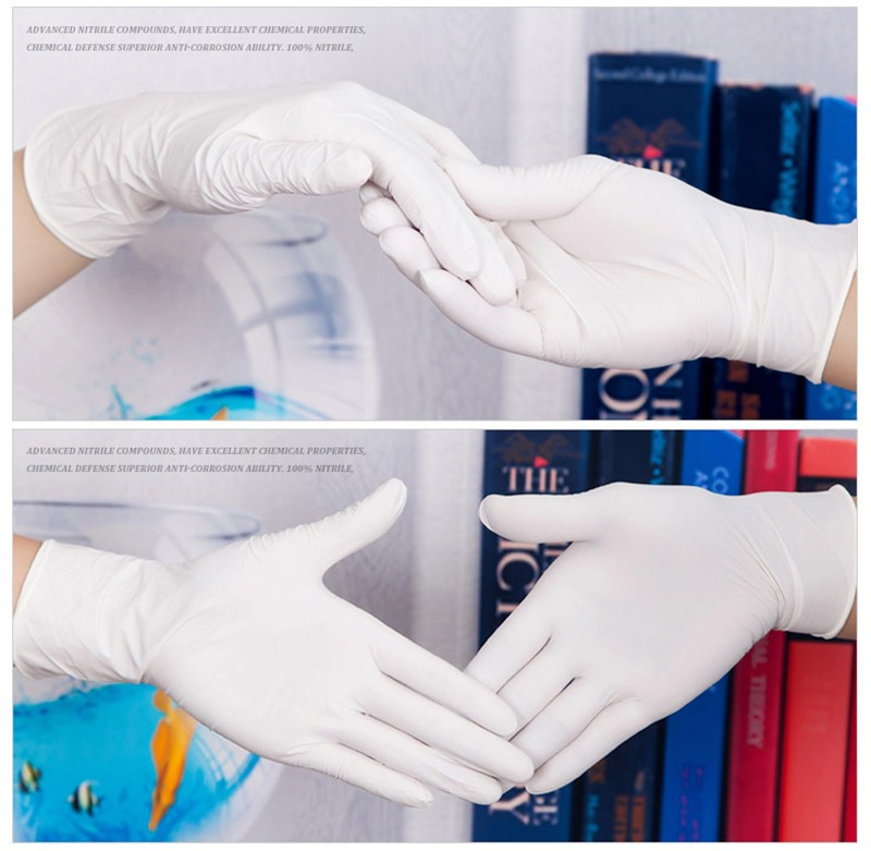 100pcs Disposable Latex Gloves White Non-Slip Acid gloves