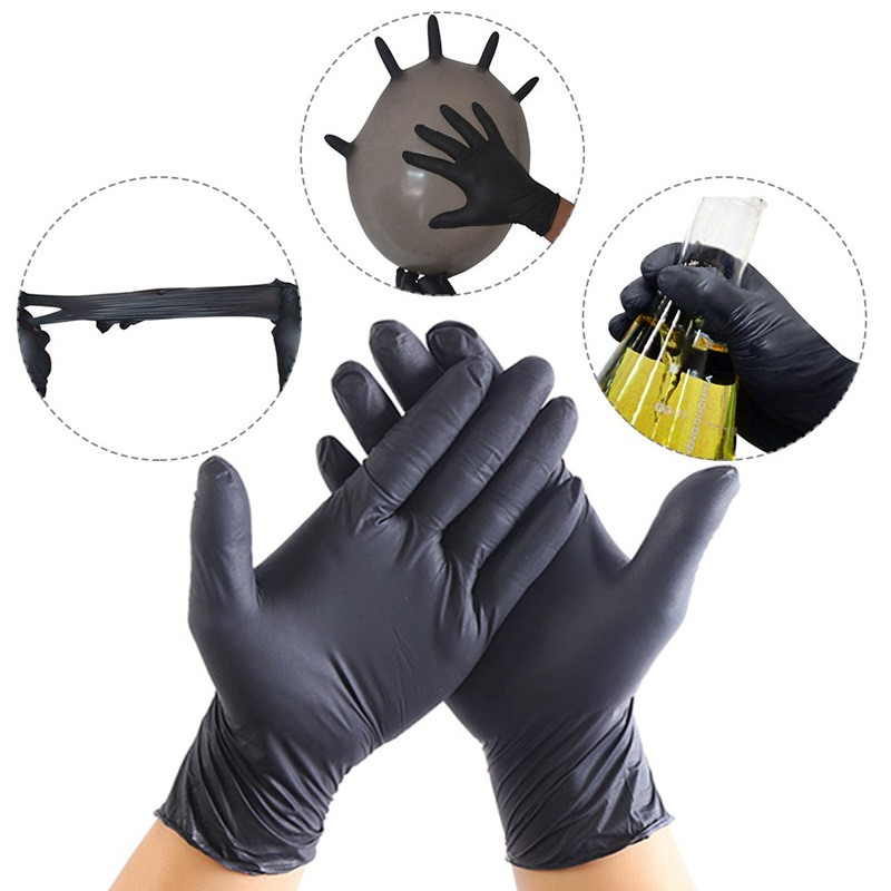 Black Blue Disposable Latex Gloves