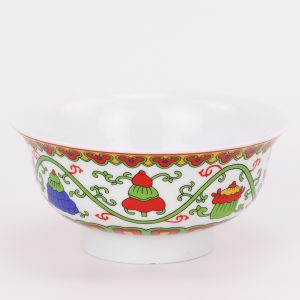 RZHU05 Beautiful Chinese pottery and porcelain bowl daily decoration pieces multicolored eight treasure design 5 inch bowl