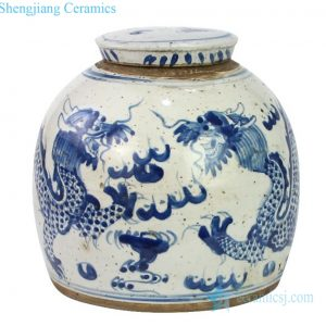Chinese traditional blue and white with two dragons Jar