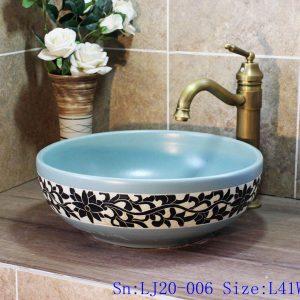 LJ20-006 Fashion blue and black flowers round shape ceramic sink
