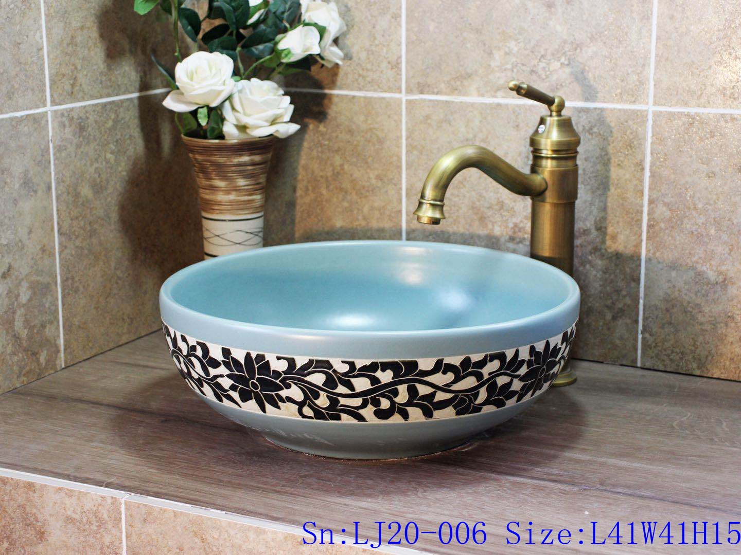 LJ20-006 Fashion blue and black flowers round shape ceramic sink