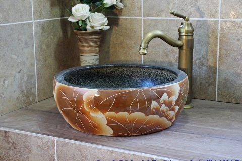 LJ20-007 classic hand made Lotus flower porcelain wash basin
