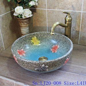 LJ20-008 Colorful butterfly imitation marble pattern ceramic basin