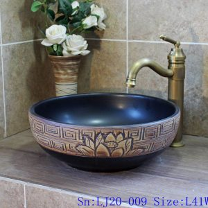 LJ20-009 China traditional dark blue brown lotus wash basin sink